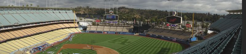2013 Dodger Blog panorama warm up and field crew