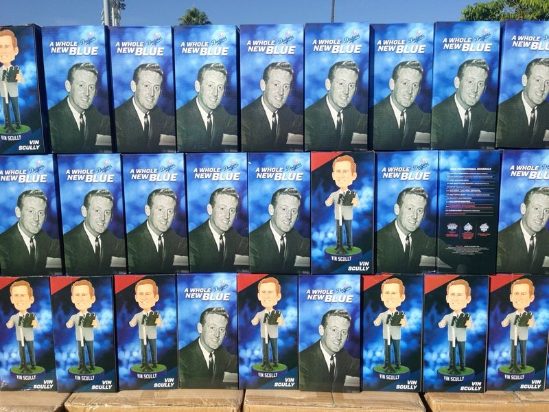 2013 Dodger Blog vs Reds Vin Scully stack of Bobblehead pic 1