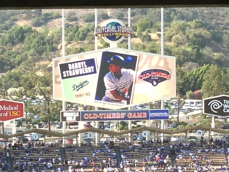 2013 Dodger Blog Old Timers Game pic 33 LA intro Darryl Strawberry