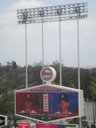 2013 Dodger Blog vs St. Lois Jumbo Tron pitchers Miller