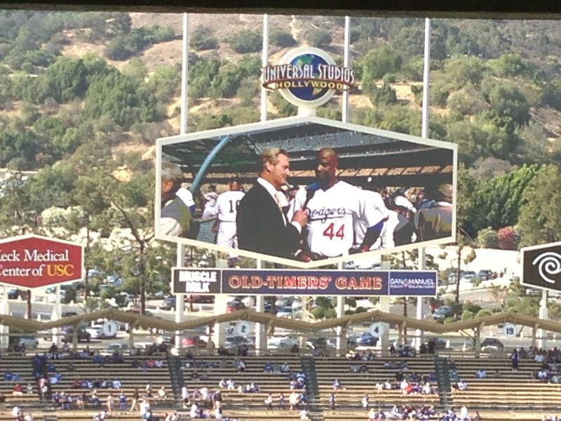 2013 Dodger Blog Old Timers Game pic 8 Jumbo Tron Strawberry