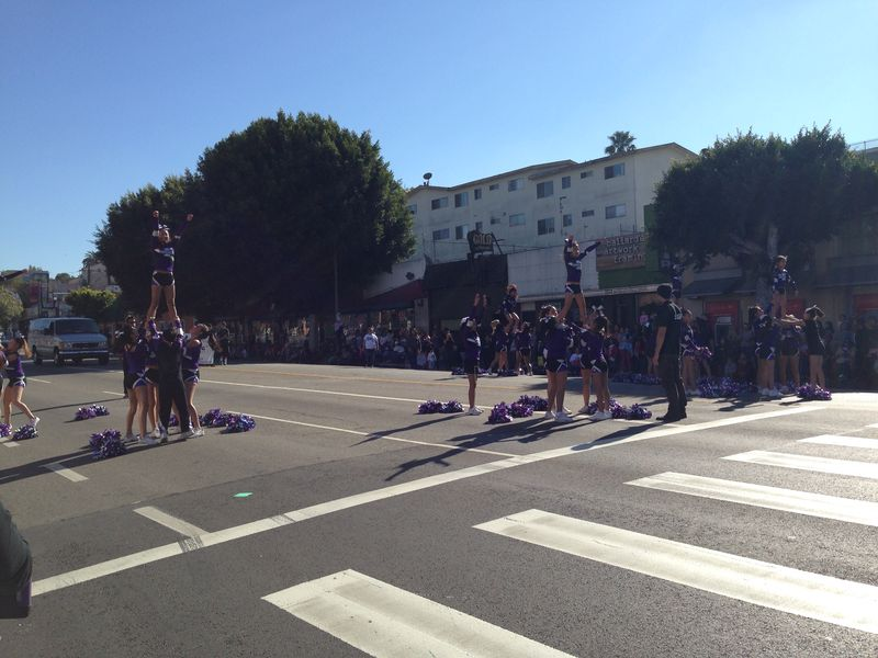 Echo Park Holiday Parade Purple Cheer team pic