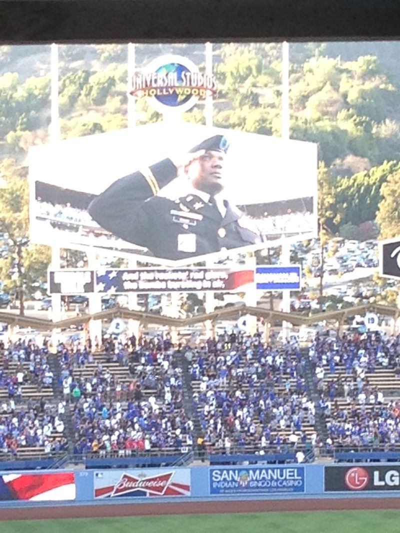 2013 Dodger Blog vs giants National anthem veteran of the game