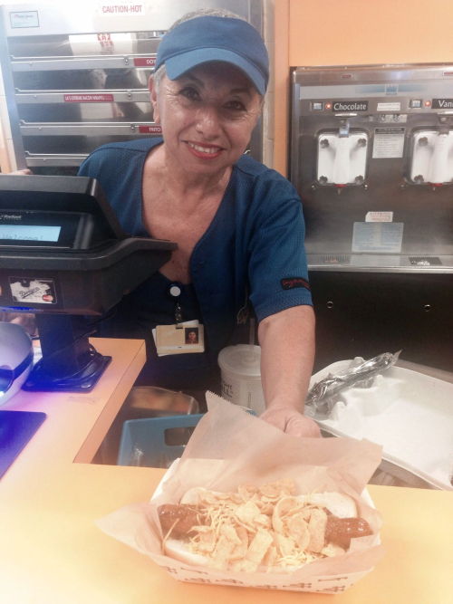 Dodger Dog Retrospective and Reviews pic 30 Mom serving the Frito Lay Dog